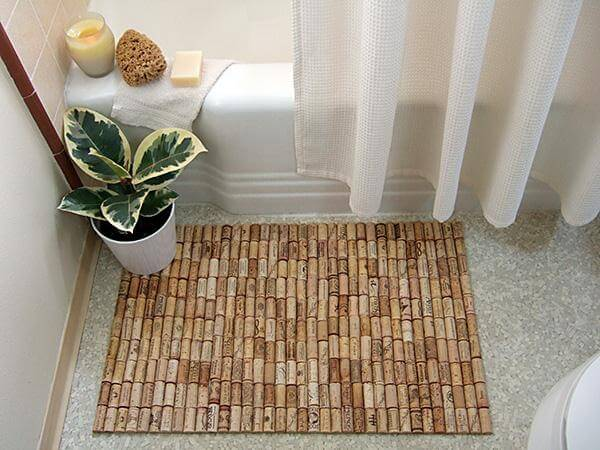 hand-built cork bath mat