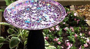 diy easy hand made recycled mosaic birdbath