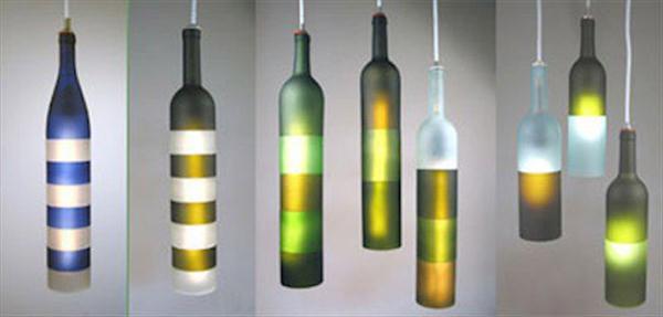 repurposed glass bottle light lamps