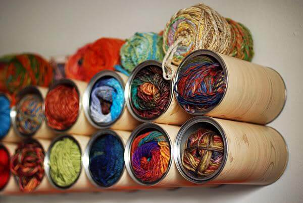 tin can yarn wall hanging yarn storage project