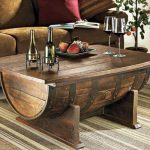 repurposed old barrel living room coffee table