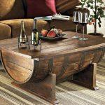 repurposed old barrel living room coffee table