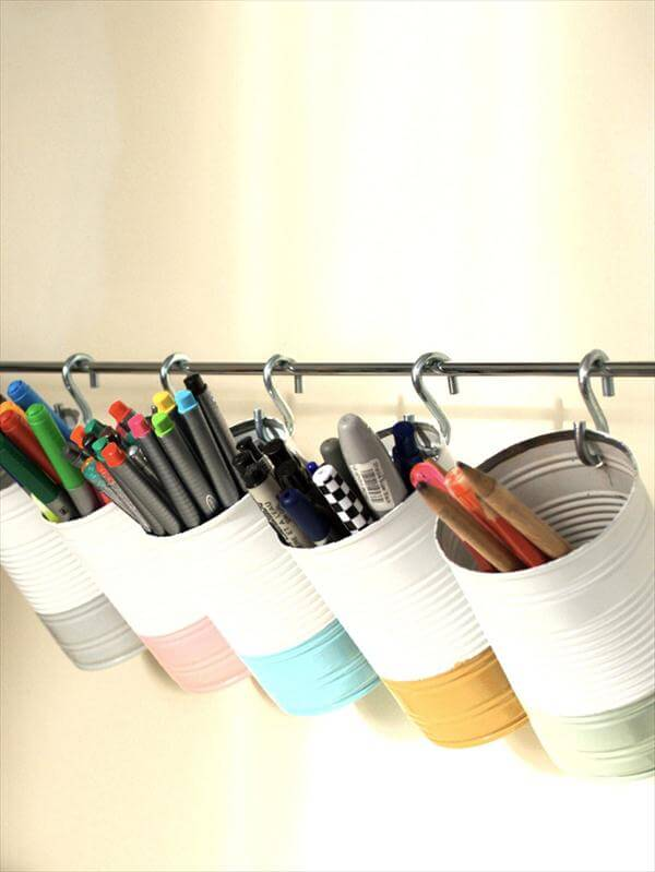 hanging tin cans stationery organizer