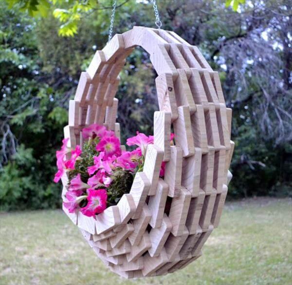 diy scrap wood hanging flower basket