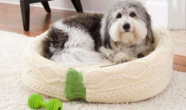 DIY Recycled old sweater dog bed