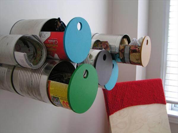 diy wall hanging tin can drawers