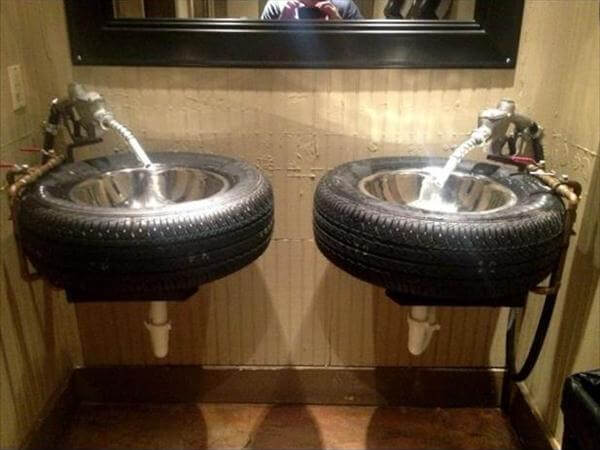 repurposed car tire bathroom vanity