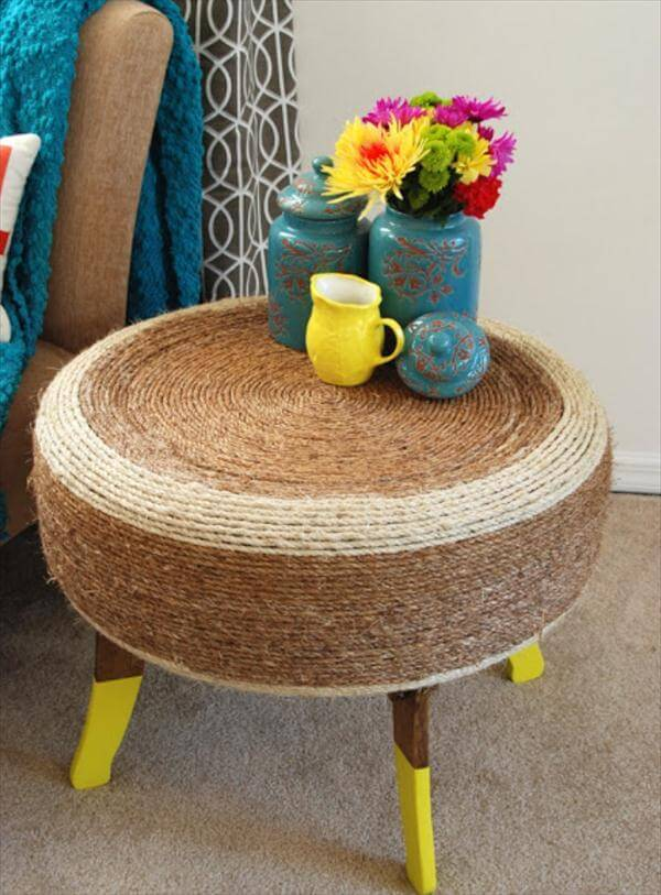 upcycled old tire side table