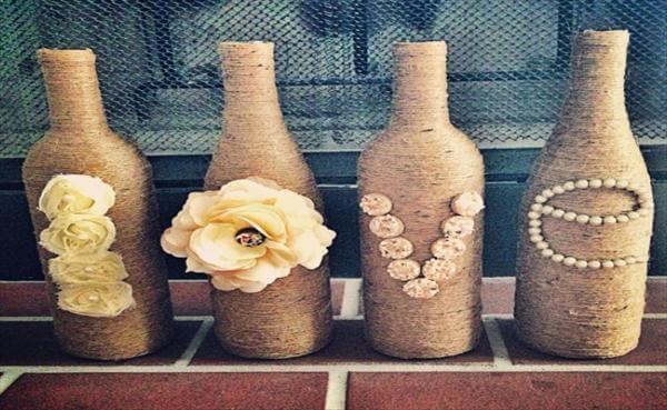 handmade twine wrapped love vases