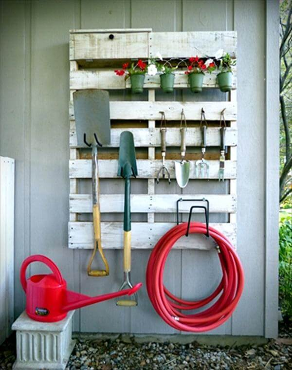 recycled pallet tool organizer