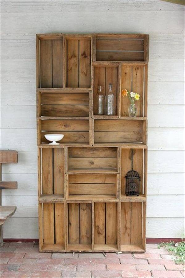 diy recycled wood shelves
