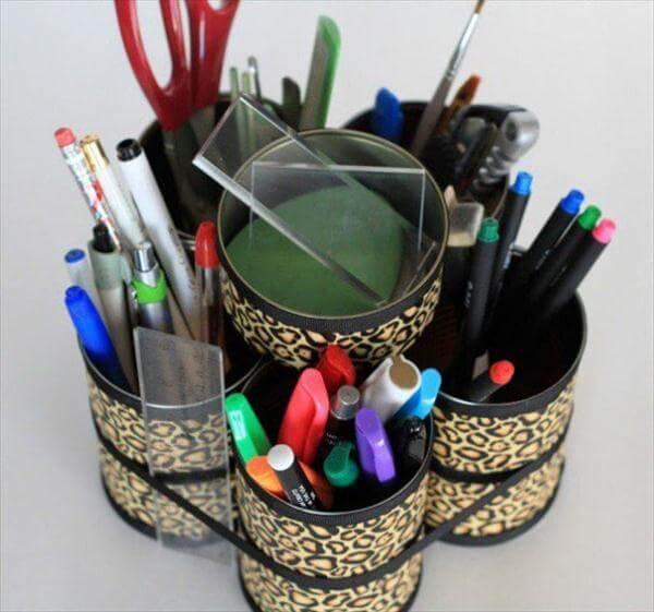 modern tin can makeup tool organizer