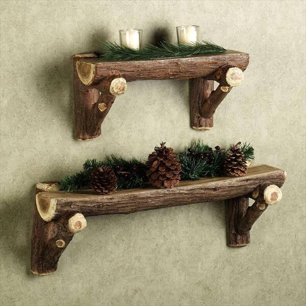 antique wood log wall shelves