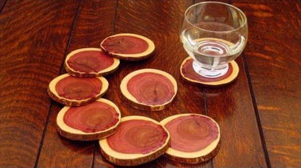 wood log beverage coasters