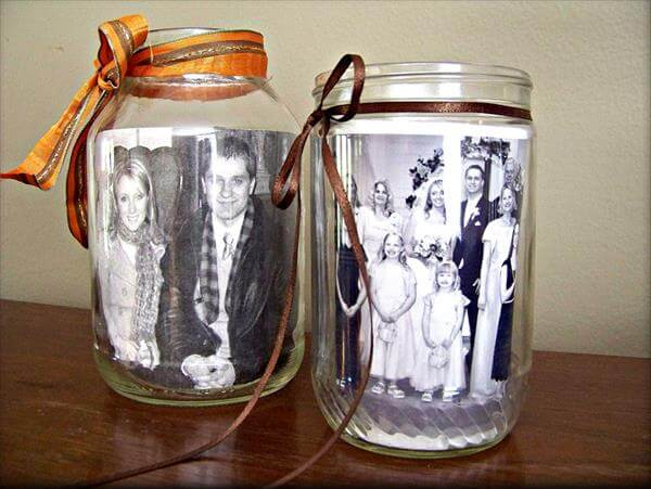 good looking glass jar photo frame