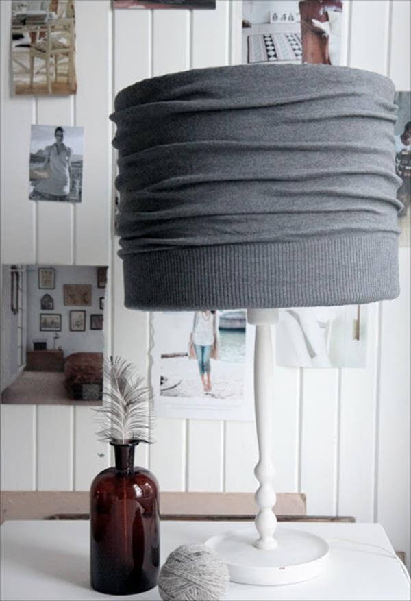 Recycled cardigan lamp shade design idea