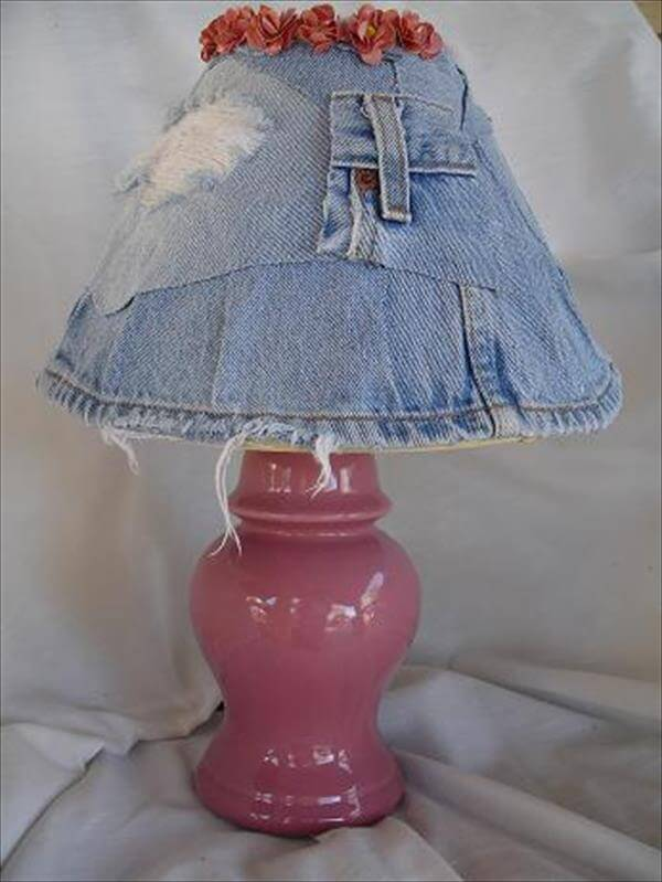 diy recycled jeans lampshade patern