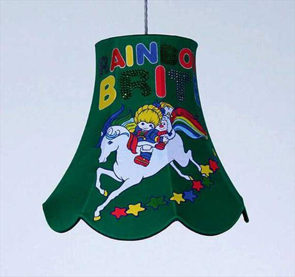 green color lamp made from old clothes design