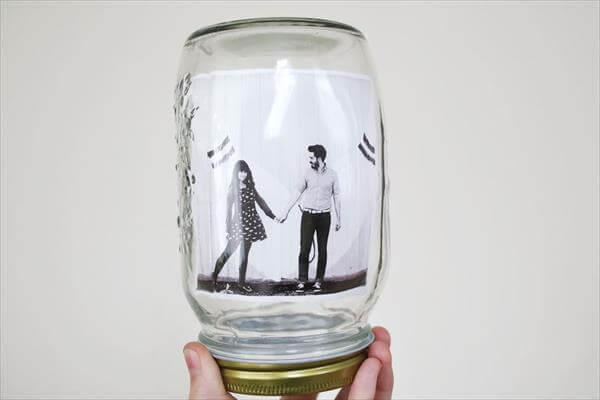 snow mason jar photo frame