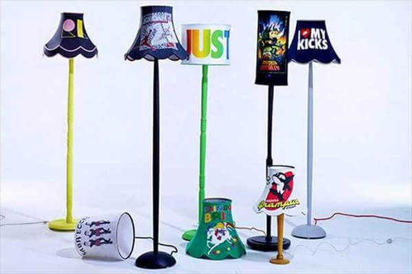 diy nice and good looking lampshade made from old clothes