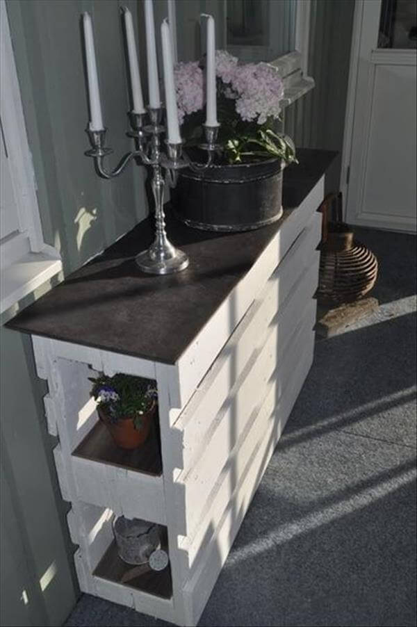 white painted pallet hallway or entryway table