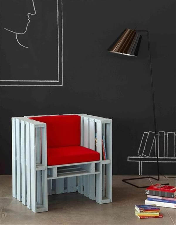 white painted red cushioned pallet chair