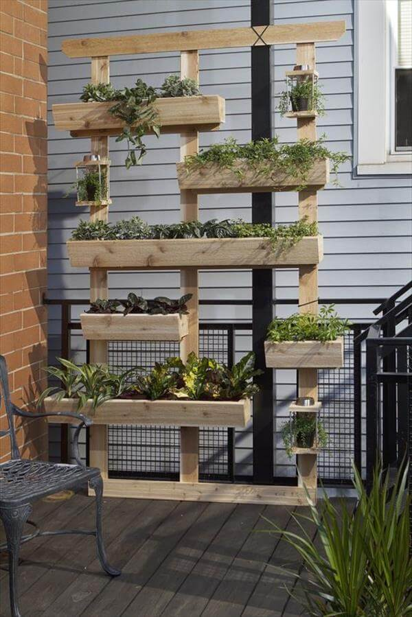 pallet vertical garden with multiple potting levels