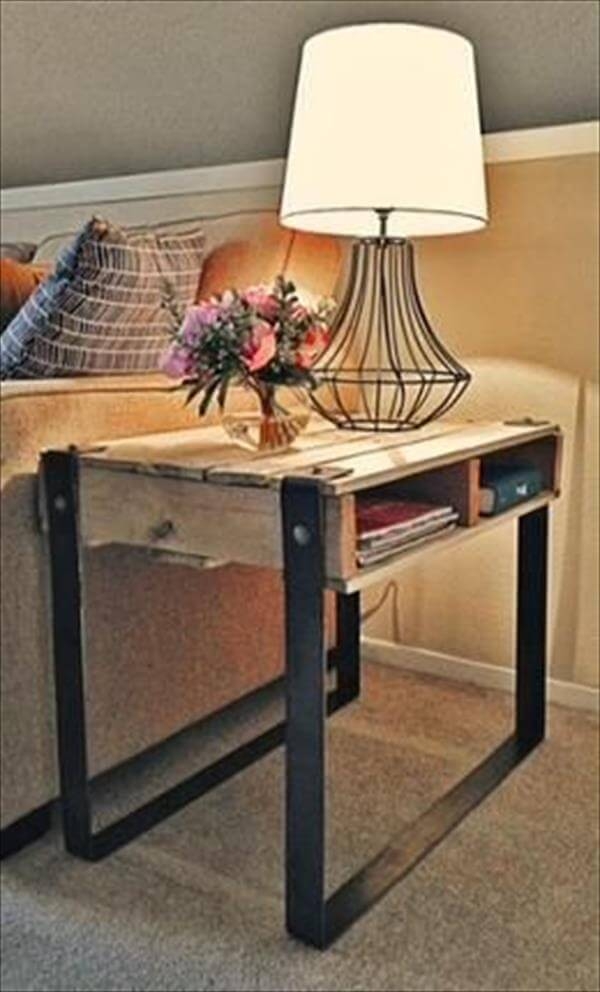 pallet and steel side table