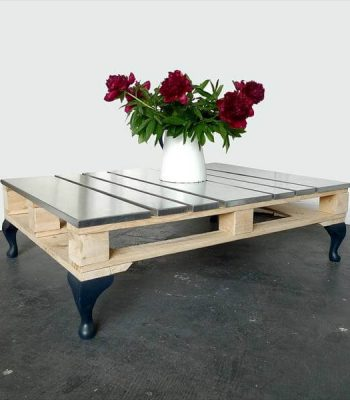 unique pallet and steel coffee table