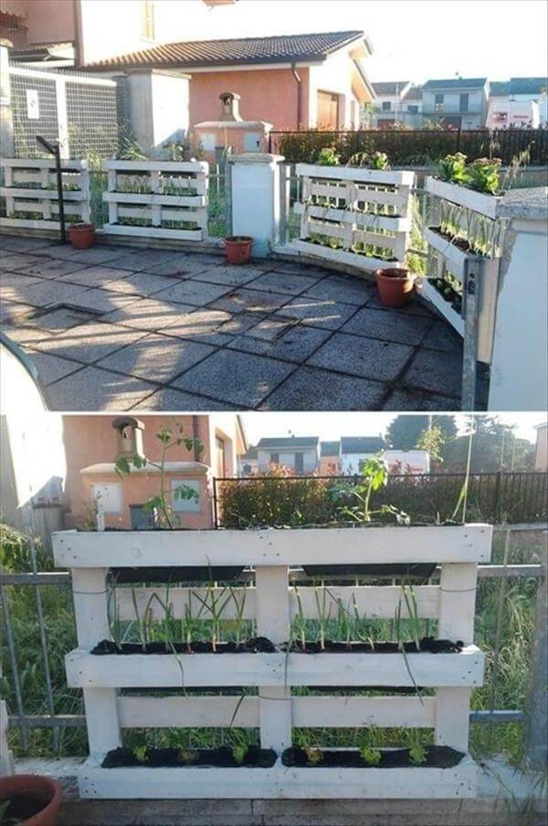 pallet balcony grill planters