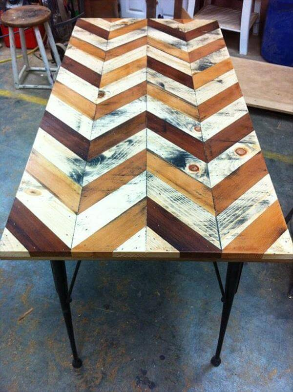 handmade double chevron pallet dining table