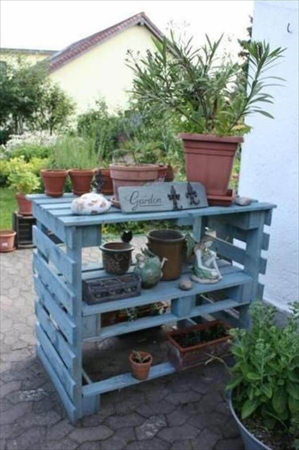 blue painted pallet garden potting table