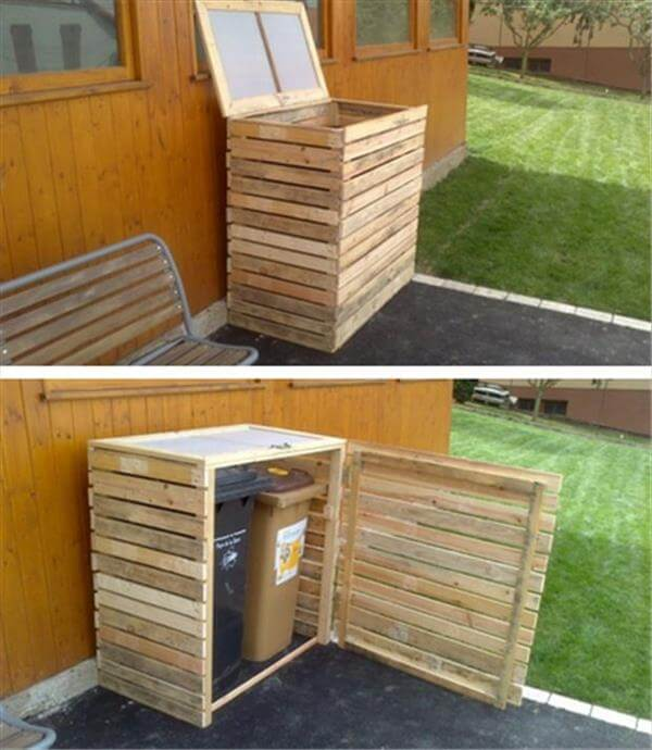 pallet outdoor trash bin holder
