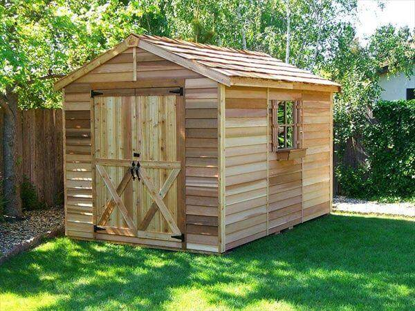 upcycled pallet outdoor shed