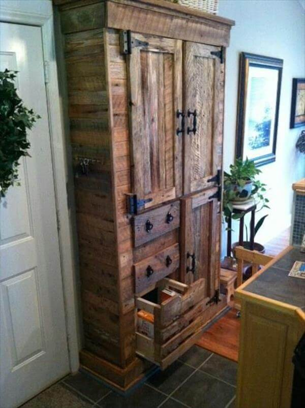 handcrafted pallet cabinet