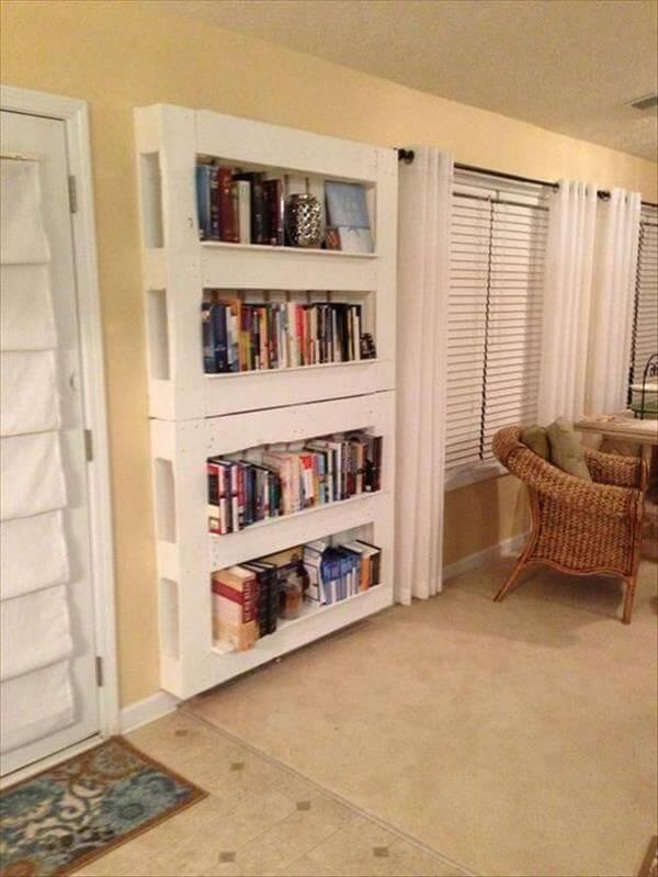 diy white wall hanging pallet bookshelf