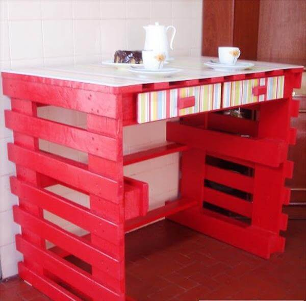 red and white painted pallet table
