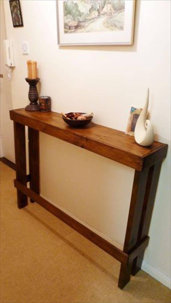 slim pallet entryway or sofa side table