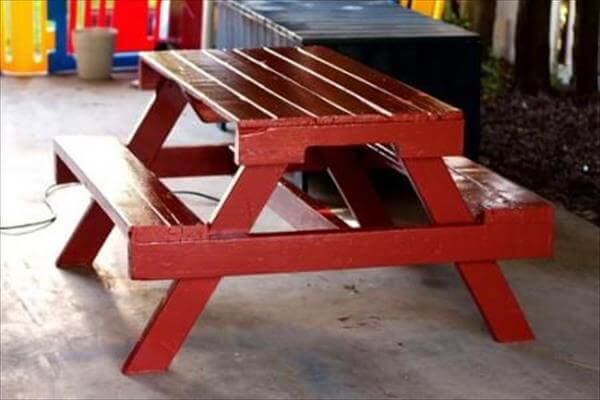 handcrafted pallet picnic table