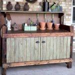 repurposed pallet rustic potting bench