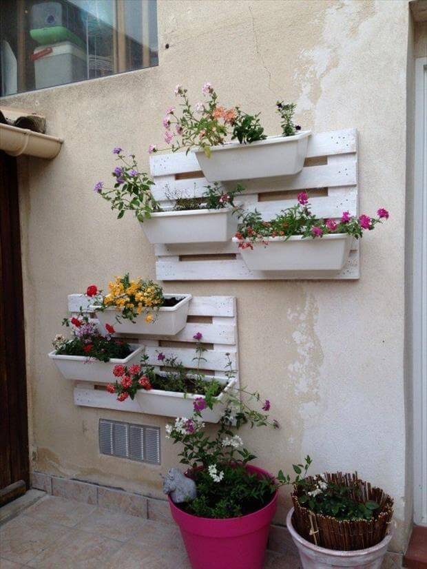 pallet white wall hanging planters