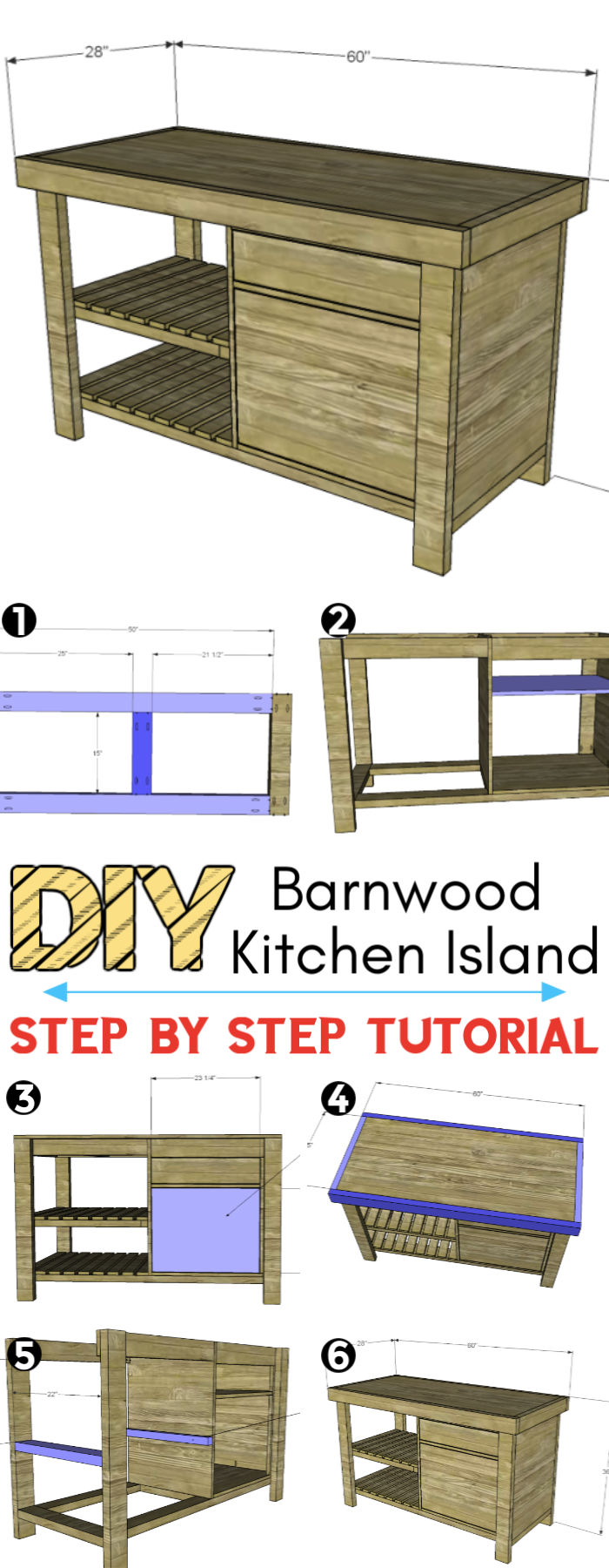 Build a New American Barnwood Kitchen Island