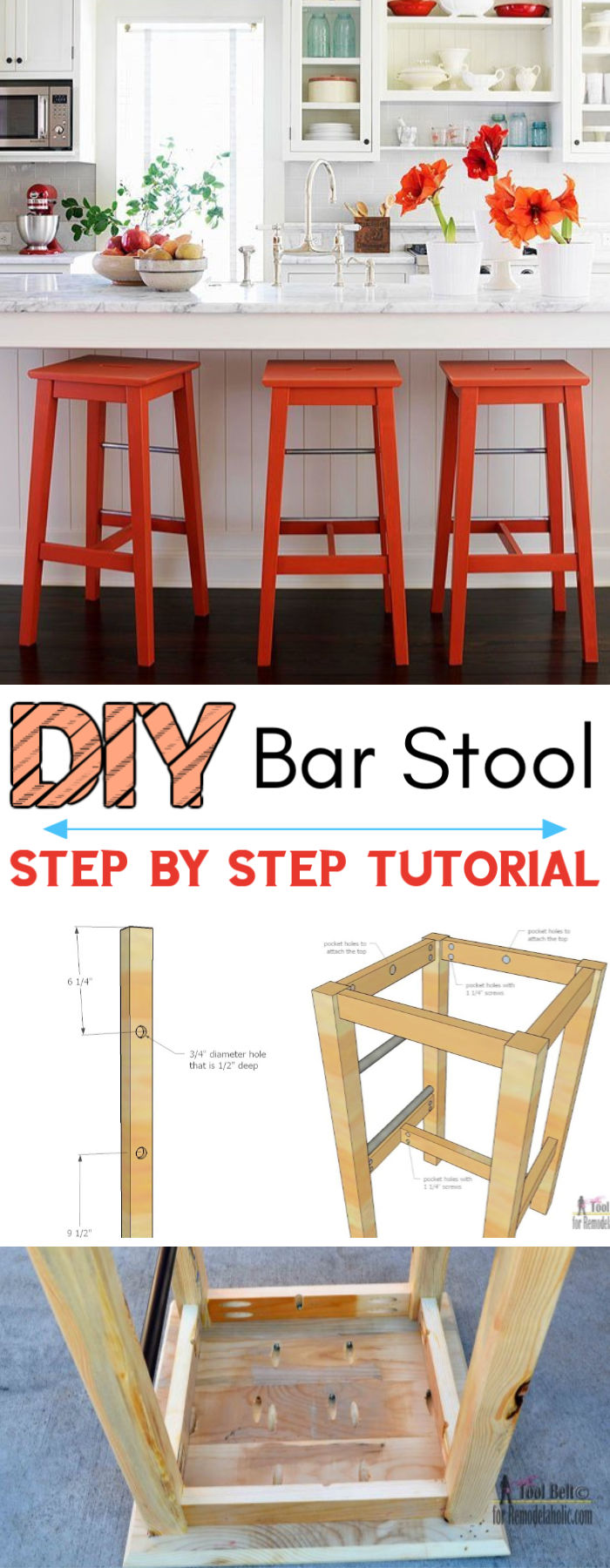 DIY Bar Stools With Metal Bar Accents