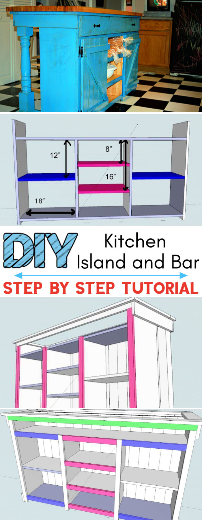 DIY Farmhouse Kitchen Island Bar Plan