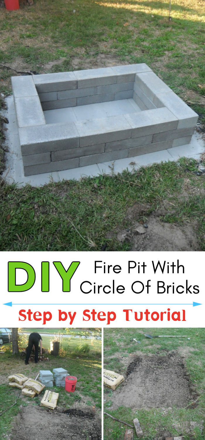 DIY Fire Pit with Circle Of Bricks
