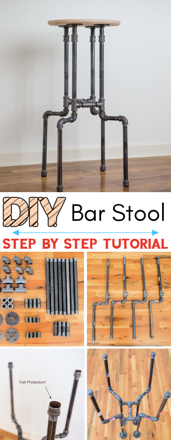 DIY Industrial Bar Stool